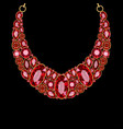 red jewelry gold necklace with rubies vector image vector image