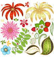 Set colorful floral design elements vector image vector image