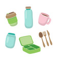 set ecological items - reusable coffee cup vector image vector image