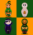 set of dolls halloween vector image