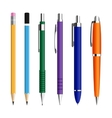 set pens and pensils vector image vector image