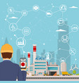 smart factory and around it icons engineer vector image vector image