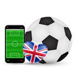 smartphone with love england football soccer vector image