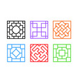 square chinese window frame in flat art vector image