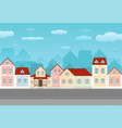 street with colored houses old european city view vector image