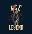t shirt design ace legend with skeleton playing vector image vector image