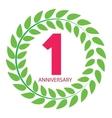 Template Logo 1 Anniversary in Laurel Wreath vector image