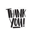 thank you handwritten black lettering vector image