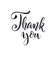 thank you handwritten inscription black and white vector image