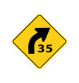 usa traffic road signs right curve aheadadvisory vector image vector image