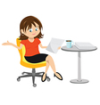 woman brunette sitting vector image vector image