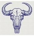 Ball pen buffalo skull sketch vector image