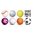 sport balls realistic classic sport game vector image