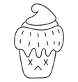 a children coloring bookpage a kawaii cupcake vector image vector image