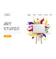 art studio website landing page design vector image