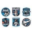 astronaut academy galaxy explore icons vector image vector image