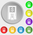 atm icon sign Symbol on eight flat buttons vector image