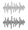 black seamless sinusoidal sound wave lines vector image vector image
