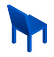 blue plastic chair icon isometric style vector image vector image
