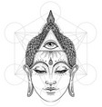 buddha face with all seeing eye isolated on white vector image