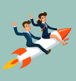 businesswoman and businessman fly to success vector image