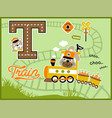 cartoon of harvest carrier locomotive with funny vector image