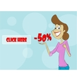 Cartoon woman showing sale percent vector image vector image