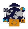 cloud computing world folder refresh vector image vector image