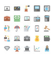 collection of business and finance flat icons vector image