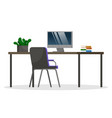comfort workplace with computer at office or home vector image vector image