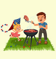 family resting in park or garden dad grilling vector image vector image