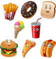 fast food cartoon collection set vector image