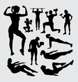 Fitness sport male and female silhouette vector image vector image