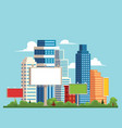 flat cityscape with building skyscrapers vector image vector image