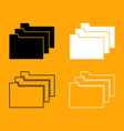 folders black and white set icon vector image