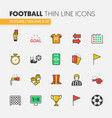 football soccer linear thin line icons set vector image