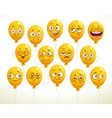 funny cartoon emoji balloons set yellow smiley vector image