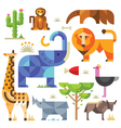 Geometric flat Africa animals and plants vector image vector image