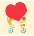 Girl and boy is riding bike Love and friendship vector image vector image