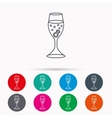 Glass with ring icon Engagement symbol vector image vector image