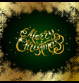 golden text on green background merry christmas vector image
