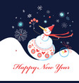 greeting christmas card with snowman on a dark vector image vector image