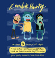 halloween zombie party poster with monster group vector image