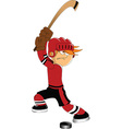 Hockey player shooting puck vector image vector image