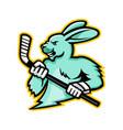 jackrabbit ice hockey player mascot vector image