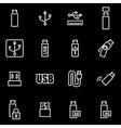 line usb icon set vector image