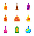 luxury alcohol bottle icons set cartoon style vector image vector image