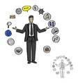 male businessman with business icons around vector image vector image