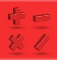 math symbols 3d isometric shape plus minus vector image