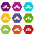 medal with ribbon icon set color hexahedron vector image vector image